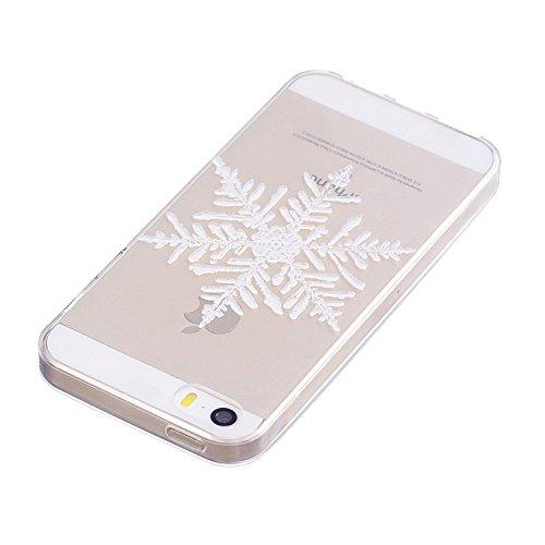 iPhone 5 5S SE Custodia , Moda Fiocco Di Neve Silicone leggero Morbido TPU Sollievo Sottile Protezione Antiurto Copertura Antiscivolo Resistente Coperture Cover Case Custodia per Apple iPhone 5 5S SE