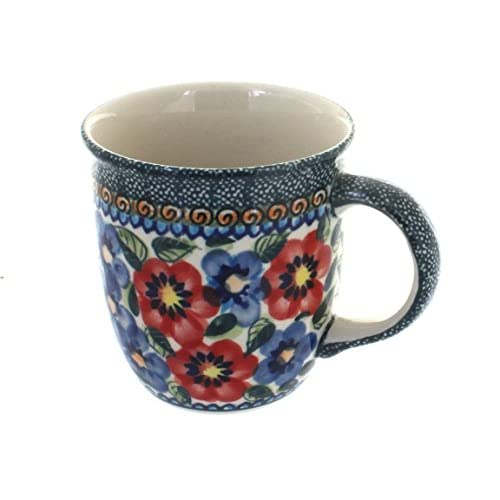 Polish Pottery Coffee/Tea Mug 12 oz Blue And Red Poppies UNIKAT