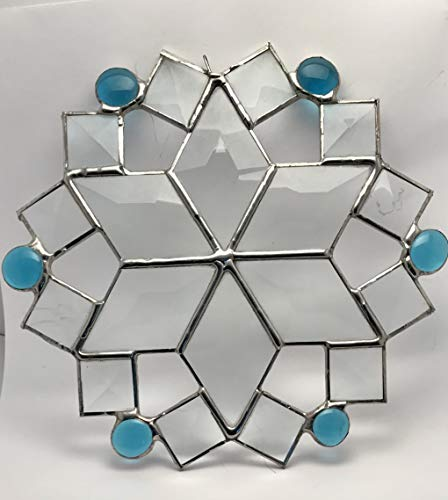 Diamond and Square Bevels Snowflake with Blue Nuggets