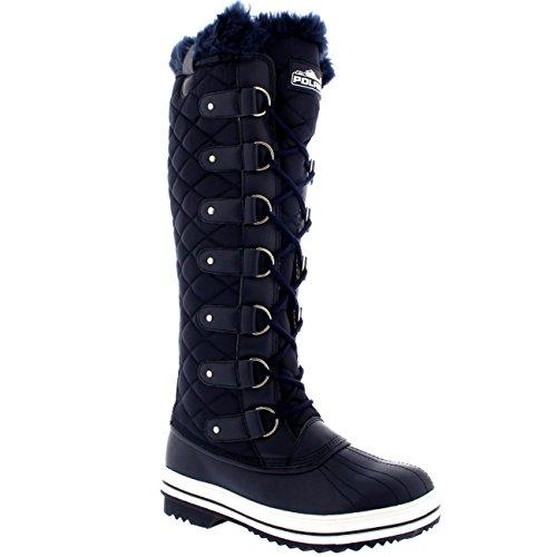 Polar Damen Quilted Knie Hoch Ente Pelz Gefüttert Regen Schnüren Dreck Schnee Winter Stiefel Marine Nylon