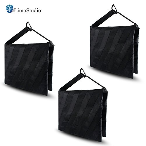 LimoStudio 3 Packs of Heavy Duty Photographic Sand Bag Black Stripe, Video Photo Studio Weight Bag for Light Stand Tripod, Boom Arm Stand, 20 lbs Max Capacity, Saddlebag Design, Photo Studio, AGG2121 by LimoStudio