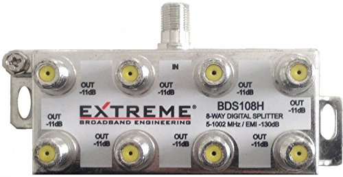 EXTREME 8 WAY BALANCED HD DIGITAL 1GHz HIGH PERFORMANCE HORIZONTAL COAX CABLE SPLITTER - BDS108H ()