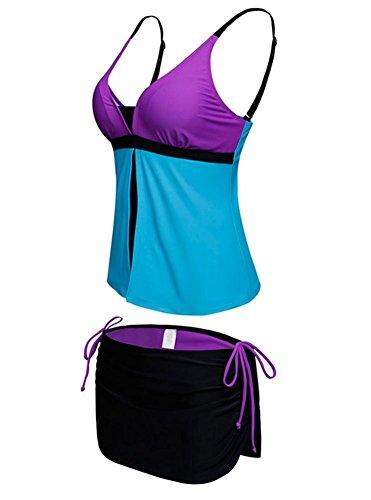 DZW Casual Beach Vacation Classic Conservative Bikini Large Size Swimsuit , b , mWas thin
