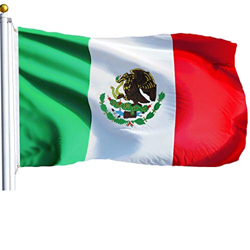 (G128 - Mexico (Mexican) Flag | 3x5 feet | Printed - Vibrant Colors, Brass Grommets, Quality Polyester)