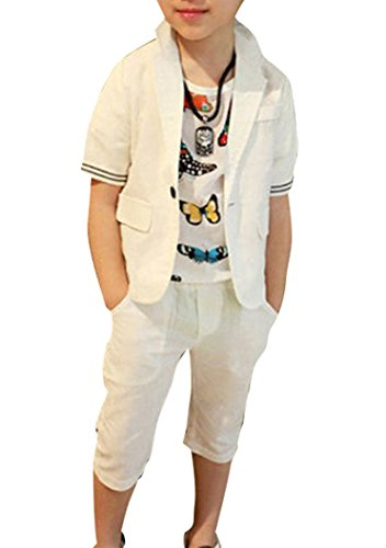 ZhaoKai Boys Summer White Linen Suits 2 Pieces Short Sleeve Jacket and Shorts Set (8) -