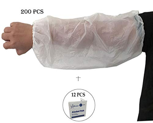 200 PCS-(18'' Length) Disposable Poly (PE) Arm Sleeves Covers, Painting, Repair, Cleaning, Tattoo, Showers, Waterproof Protector- Starryshine Alcohol Pads Included by Starryshine and EZ-5 (Image #1)