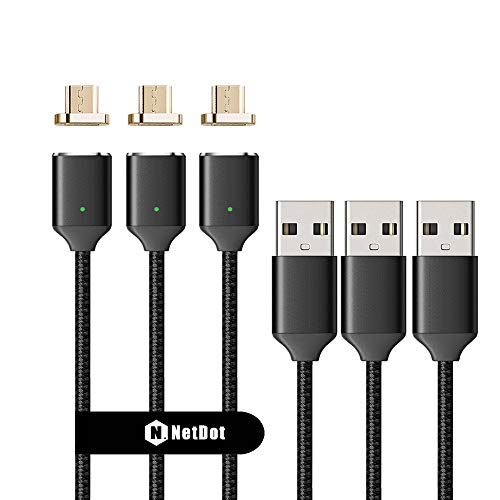 NetDot 3 Pack Upgraded 1m/3.3ft Nylon Bradied USB2.0 Fast Charging Magnetic Micro USB Cable LED Indicator Compatible Android Device (3.3FT / 3 Pack Black)