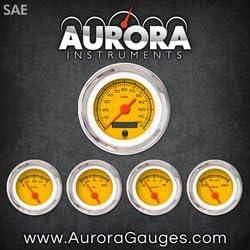 Aurora Instruments 1162 Competition Yellow SAE 5-Gauge Set Orange Vintage Needles, Chrome Trim Rings, Style Kit Installed