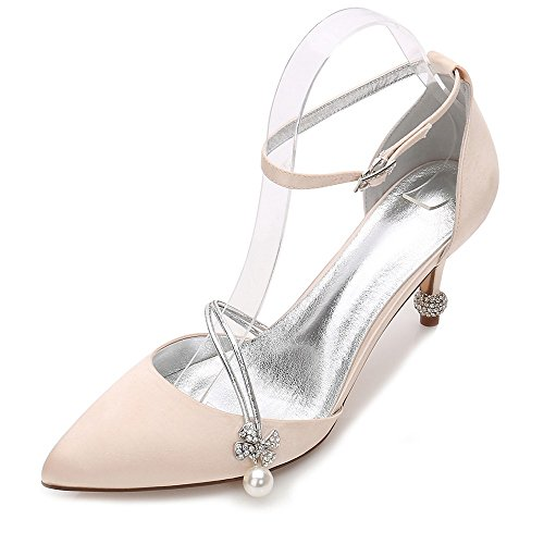 Chaussures Mariée Zxstz On Bal Robe Mariage De Haut Chaussures À De Chaussures Classiques Close Femmes De Talons Toe De Talons Champagne Slip Pompe Soirée qAwq7cr0
