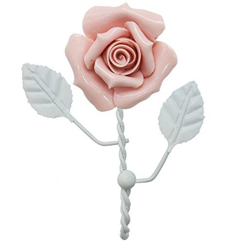Hook Rose - HUELE Wall Mounted Vintage Metal Ceramic Beautiful Pink Rose Hook Coat Hat Hanger Curtain Valance Holdback Wall Hook