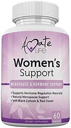 Women's Support Supplement- Natural Hormone Regulation- Menopause Support Supplement- Estrogen Rich Supplement- Active Ingredients Hormone Regulation - Pills to Balance Hormones Non-GMO by Amate Life