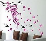 Falling flowers and Birds – Loft 520 Kids Nursery Home Decor Vinyl Mural Art Wall Paper Stickers, Baby & Kids Zone