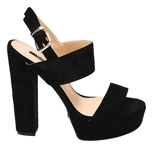 King Of Shoes Damen Riemchen Abend Sandaletten High Heels Pumps Slingbacks Velours Peep Toes Party Schuhe Bequem 08 Schwarz