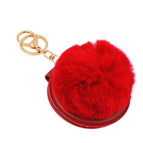 BAOBAO Cosmetic Mirror Fluffy Rabbit Fur Ball PomPom Pendant Keychain Bag Keyring (Mirror Ball Keychain)