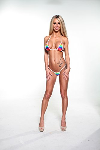 a471b18e898 Rainbow Multistripe Sexy Micro G-String Bikini 2pc Mini Thong Small Top w/ White