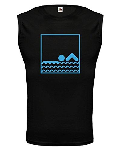 buXsbaum Tank Top Swimming-Pictogram-XL-Black-Skyblue (Schwimmen-trikots)