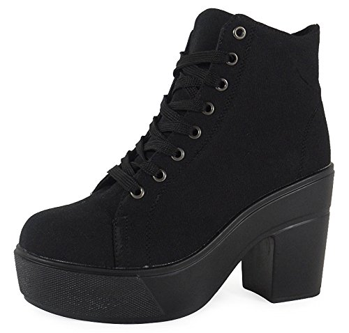 Sports Size Running Comfy Womens Loud Up 8 Lace 4 Black Trainers Fitness Womens Shoes Look UK Gym Canvas 8EqE70