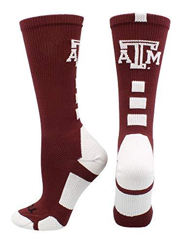 TCK Sports Texas A&M Aggies Baseline Crew Socks (Maroon/White, Small)