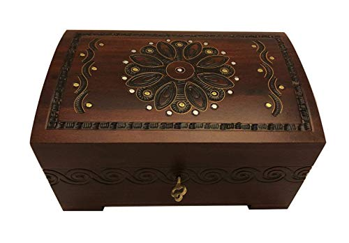 MilmaArtGift Large Polish Wooden Chest Handmade Floral Jewelry Keepsake Box with Lock and Key