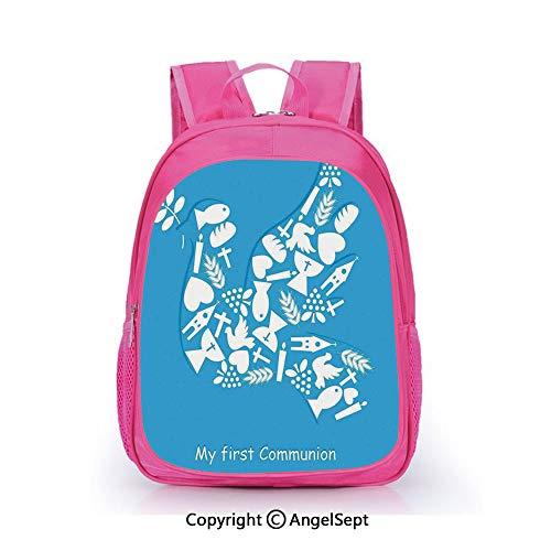 (Children Schoolbag Cute Animal Cartoon Custom,First Communion Sacramento Reminder Fellowship Traditional Ceremony Art Blue White,15.7inch,Fashion Lightweight School)