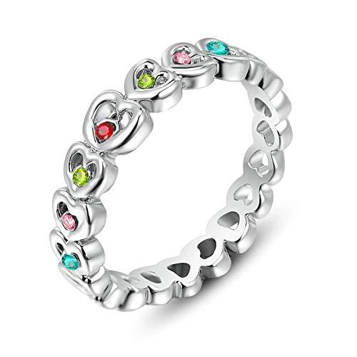ANAZOZ Gold Plated Women Ring Silver Cubic Zirconia Heart Shape Band Ring 6X19Mm AP303
