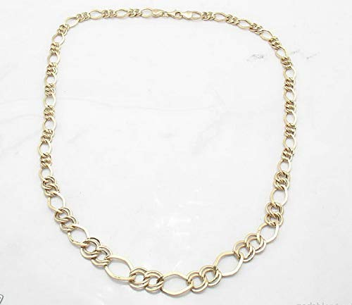 Hemau 16 17 18 Ladies Graduated Figaro Chain Necklace Real 14K Yellow Gold 6.3gr | Model NCKLCS - 1305 | 17 (14k Gold Yellow Glitter)