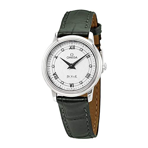 Omega De Ville Prestige White-Silvery Diamond Dial Ladies Leather Watch 424.13.27.60.52.002