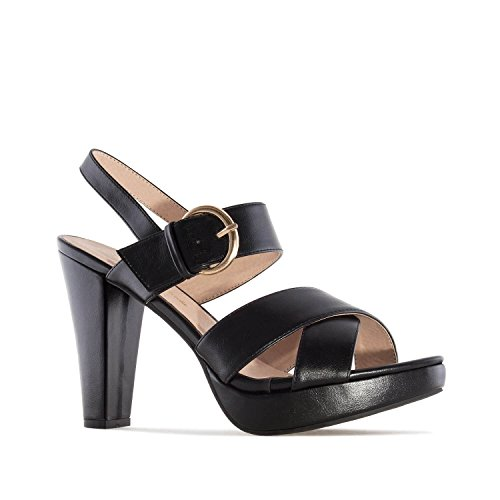 Andres Machado AM5243 Faux Leather Platform Sandals.Petite&Large Sizes: UK 0.5 to 2.5/EU 32 to 35 - UK 8 to 10.5/EU 42 to 45. Black Faux Leather