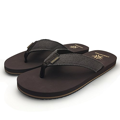 URBANFIND Men's Classic Thong Sandals Beach Flip-Flop Wide Athletic TPR Non-Slip Slippers Brown, 11 D(M) US