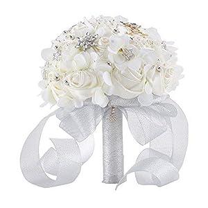 Abbie Home Silk Rose Wedding Bouquet Brooches Bridal Holding Flowers Rhinestone Décor- White 71