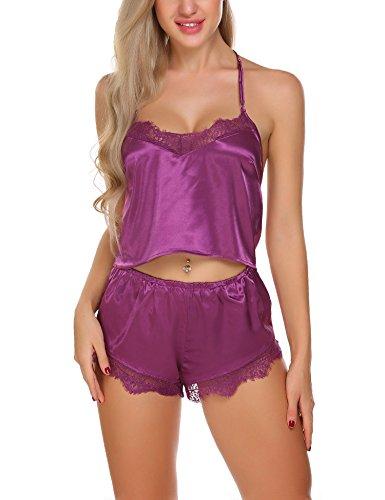 Ekouaer Sexy Satin Chemise Sleepwear Lace Pajama Shorts Set For Women,Purple,Medium -