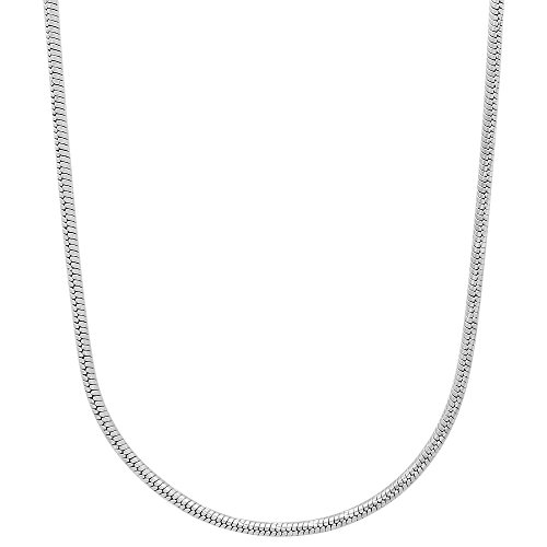 The Bling Factory 1.5mm Diamond-Cut 0.25 mils (6 microns) Rhodium Plated Round Snake Chain Necklace, 20 inches + Jewelry Cloth & Pouch