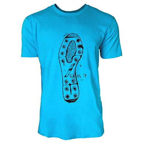 SINUS ART® Illustration mit verschiedenen Schuhabdrücken Herren T-Shirts in Karibik blau Cooles Fun Shirt mit tollen Aufdruck