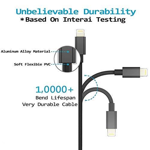 Large Product Image of Lightning Cable, GANJOY iPhone Charger 3PACK 3FT/6FT/6FT Nylon Braided 8 pin Charging Cables USB Charger Cord, Compatible for iPhone X / 8 / 8 Plus / 7 / 7 Plus / 6 / 6 Plus / iPad and more (Black)