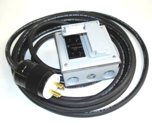 GenTran 25-Foot 12/4 Generator Contractor 4-Wire Twist Lock Extension Cord Set With Two NEMA 5-20 Duplex GFCI Receptacles And Two 20 Amp Breakers D12425DW (Discontinued by Manufacturer) Lock Duplex Receptacle