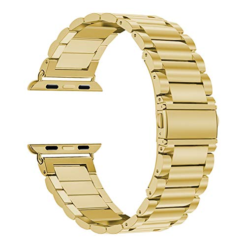 (Oitom 42mm/44mm XL Large Bands Compatible with Apple Watch Series 4 44mm, Series 3/2/1 42mm, Men IWATCH, Heavy Stainless Steel Metal Link Bracelet Wristbands Strap (Gold))