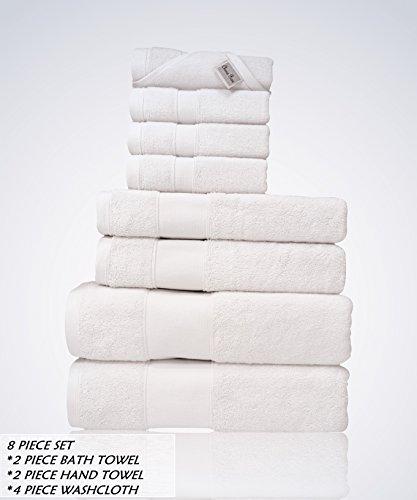 Lint Free 8 Piece Bulk Turkish Towel Set Clearance Prime Bathroom (2 Bath 2 Hand 4 Washcloths Pack) 700 GSM Quick Dry Off Premium Cotton Spa Hotel Quality Luxury Designer ()
