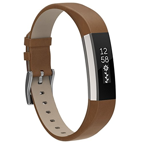 Henoda Replacemnt Leather Bands Compatible with Fitbit Alta/Fitbit Alta HR, Matte Brown Classic Genuine Leather Wristband, Small Large, No Tracker Dark Brown Leather Band