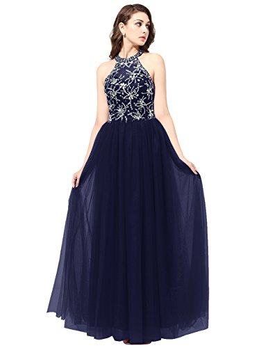 Dresstells®Mujer Vestido Largo Halter Tul Con Cuentas Fiesta Noche Boda Azul Marino