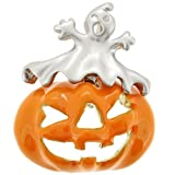 Enamel Pumpkin And Gray Ghost Halloween Pin Brooch And Pendant