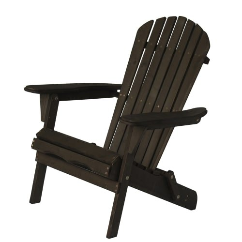 Delacora BS-BAC001 Villaret 28 Inch Wide Wood Framed Outdoor Adirondack Chair, Dark Brown by Delacora