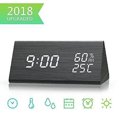 Digital Alarm Clock, Dual Time (12/24) Mode, Three Alarm Sets, Date LED Display, 3 Levels Brightness, Temperature and Humidity Wood Grain Clock for Bedrooms