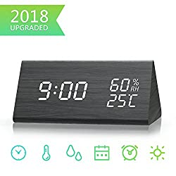 Digital Alarm Clock, Dual Time (12/24) Mode, Three Alarm Sets, Date LED Display, 3 Levels Brightness, Temperature and Humidity Wood Grain Clock for Bedrooms