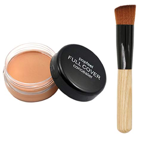 SAKAMU Concealer Foundation Primer Powder Spray Cream Makeup Palette,Makeup Foundation Makeup Base Nude Face Liquid Cover Concealer + Brush