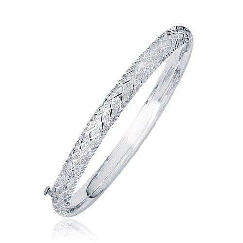 14k Diamond Bangle Gold Cut (Jewels By Lux 14K White Gold Weave Diamond Cut Dome Children's Bangle)