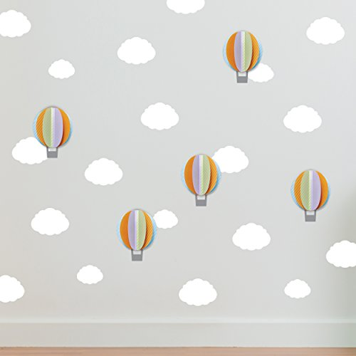 Paper Riot Co. Wall Decals Colorful and Cute Stickers for Room Decor | Easy to Peel and Stick + Safe on Painted Walls - 5 Cardstock 3D Hot Air Ballons plus Cloud Decals. DIY Decoration | By