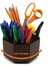 $29 » BlueBox Goods Bamboo Rotating Desk Organizer for Office Supplies, Wood Pencil Holder, School Supplies Organizer for Pens, Crayons, Paint Brushes, Arts and Crafts, 9 Sections, 360 Spin
