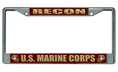 U.S. Marine Corps Recon Chrome License Plate Frame