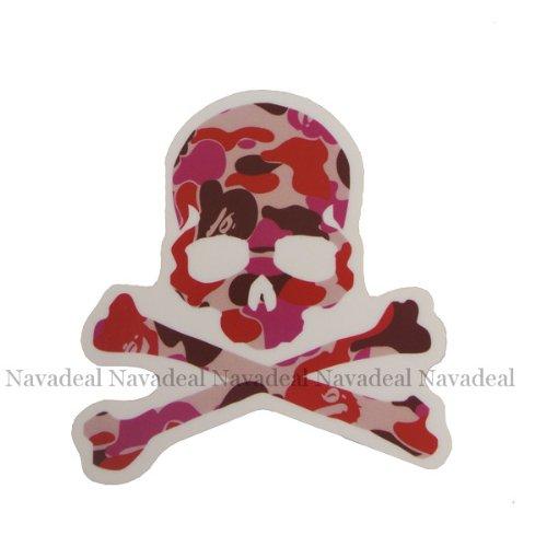 nava-pink-camo-skull-luggage-skateboard-laptop-car-bumper-halloween-art-vinyl-sticker