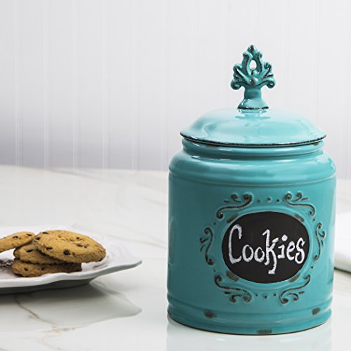 Ceramic Aqua Canister Kitchen Jar Set, Food Storage Containers, With Medallion Finial Lid -